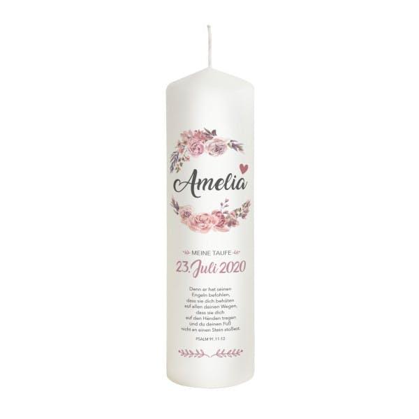 Taufkerze Blumen rosa - Modell Amelia