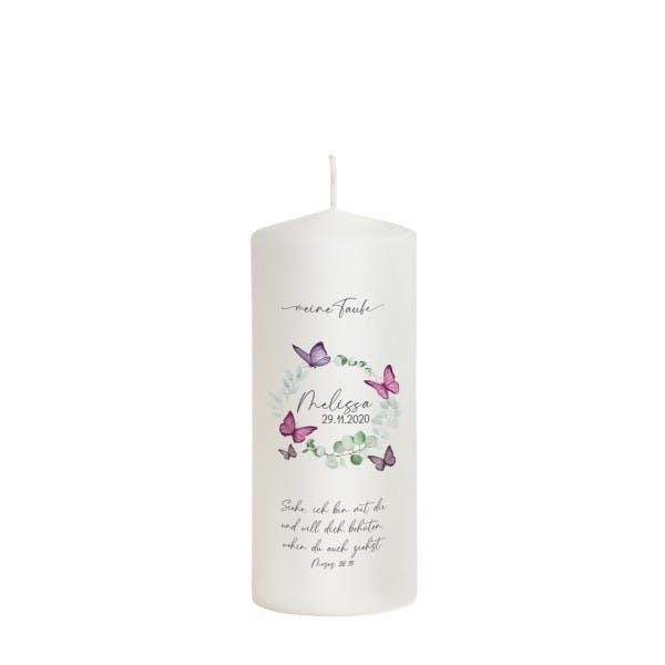 Patenkerze Schmetterling lila für Mädchen