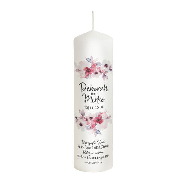 Hochzeitskerze Blumen Modell Deborah rosa-rot