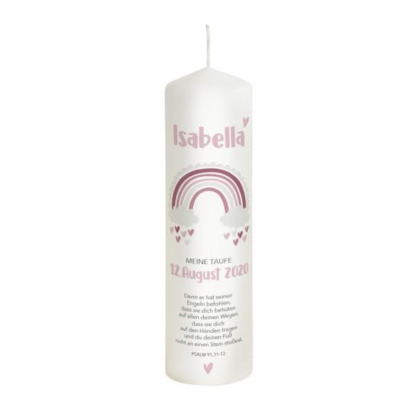 Taufkerze Regenbogen rosa Isabella