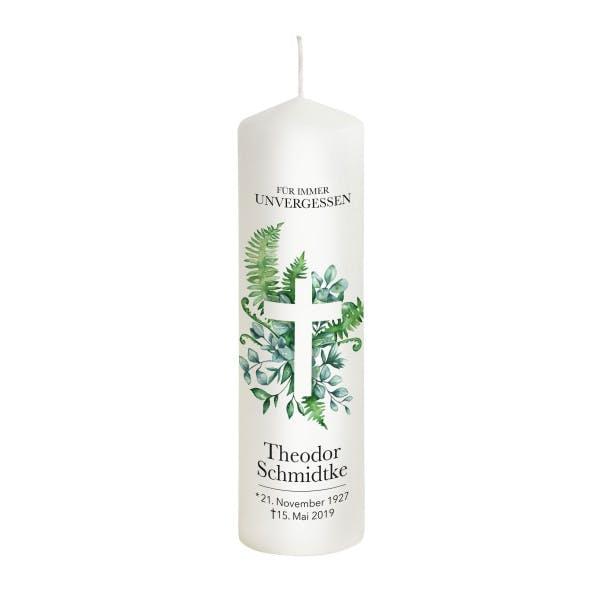 Trauerkerzen Kreuz mit grünen Blättern